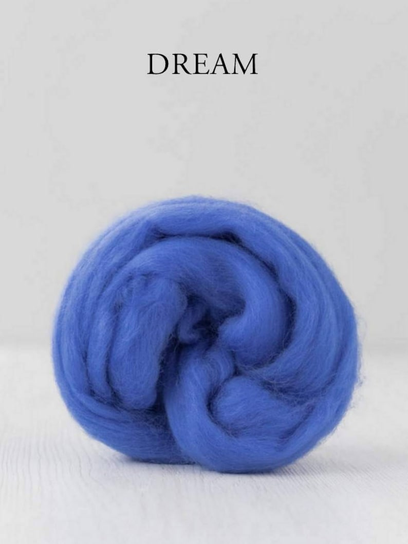 Merino Wool Roving  Combed Top   19 microns  Wool tops DyeingHouseGallery DHG  Color combed sliver DREAM