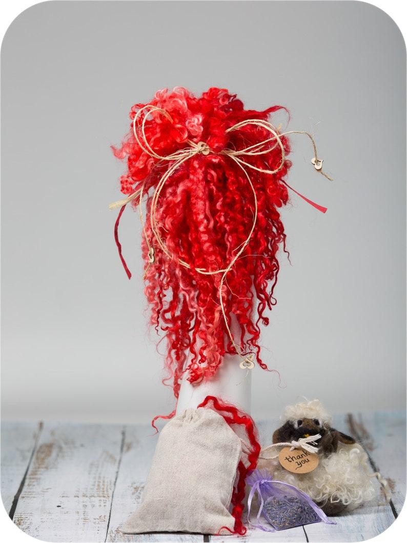 1 oz Doll Hair Locks for felting Wool Scarlet Hand Dyed  Teeswater Wool Locks,9/'/'-11/'/'Long locks Felt Dreadlocks. Spin
