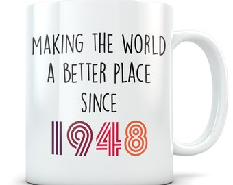 70th Birthday Gift For Women And Men Mug 70 Year Old Gifts Happy Bday 1948