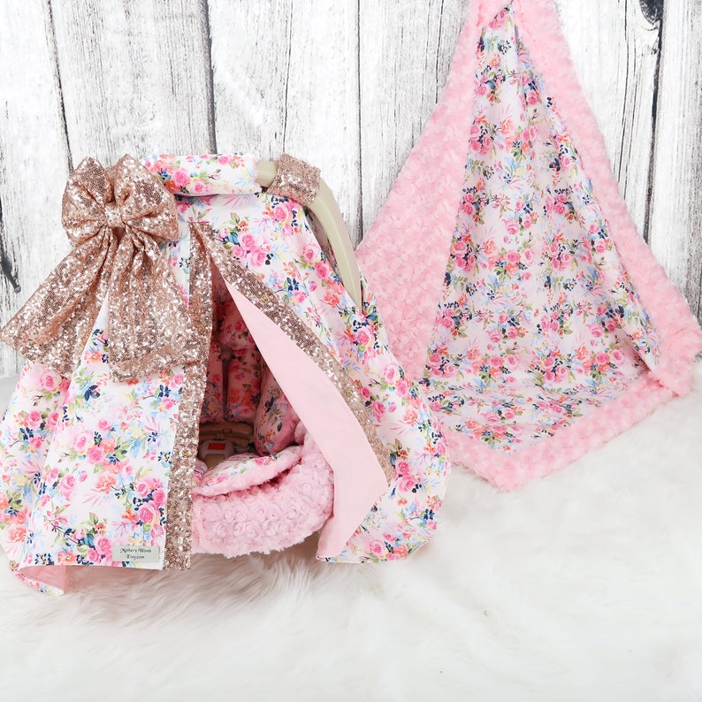 Mini Pink Floral w Rose Gold Sparkle Baby Car Seat Cover Baby Headrest Cushion Baby Car Seat Bundle Set Personalized baby Blanket