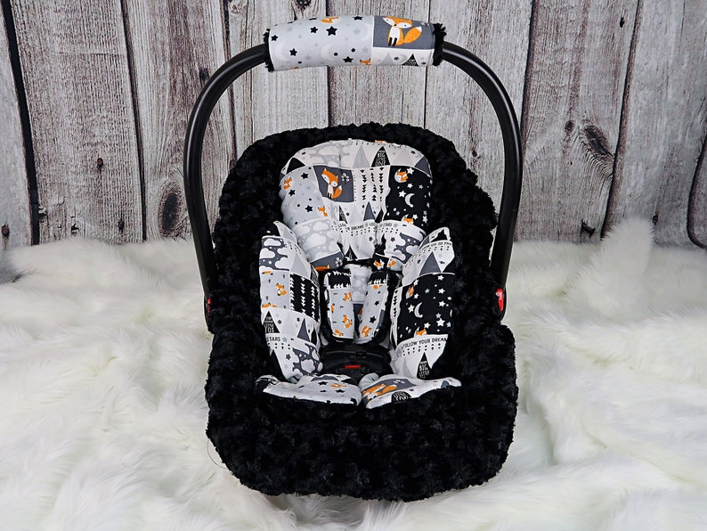 Baby Boy Car Seat Headrest Plaid Lumberjack Baby Boy Shower Gift Car Seat Strap Cushions Black Minky
