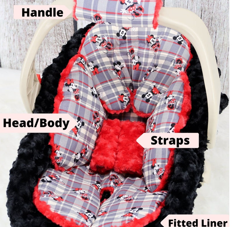 Baby Car Seat Cover Red /& Black Plaid Mickey n Minnie Mouse Baby Car Seat Bundle Set Personalized baby Blanket Baby Headrest Cushion