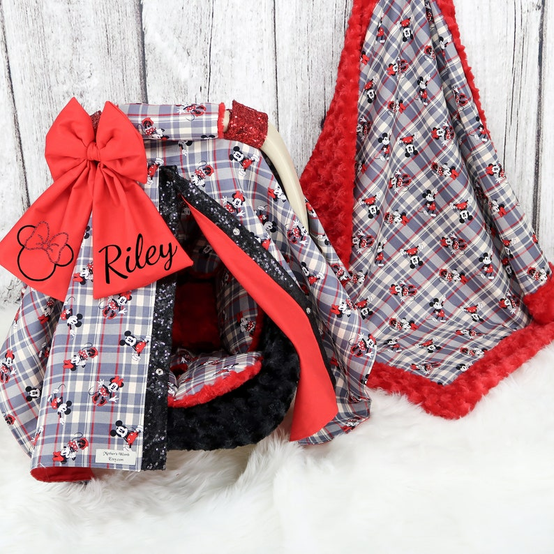 Baby Headrest Cushion Baby Car Seat Bundle Set Red /& Black Plaid Mickey n Minnie Mouse Baby Car Seat Cover Personalized baby Blanket