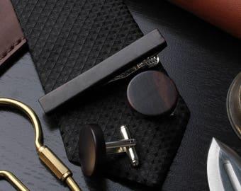 Macassar wood tie clip and cufflink