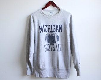 df9df72b7205 MICHIGAN FOOTBALL SWEATSHIRT    faded champion brand sweatshirt