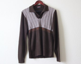 98e339710ce238 VINTAGE 70s SHAG SWEATER    70s brown drummond collared sweater
