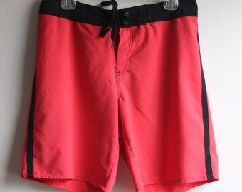 924b2e8aee HANG TEN BOARDSHORTS // men's size 32 // reddish pink // black stripes //  hang ten