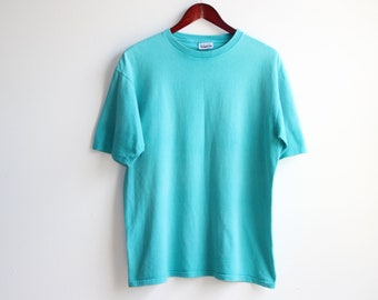 7dabd3ac BASIC EDITIONS TSHIRT // vintage turquoise t-shirt | basic editions brand |  no size tag - see measurements | faded shirt | 90s | boxy