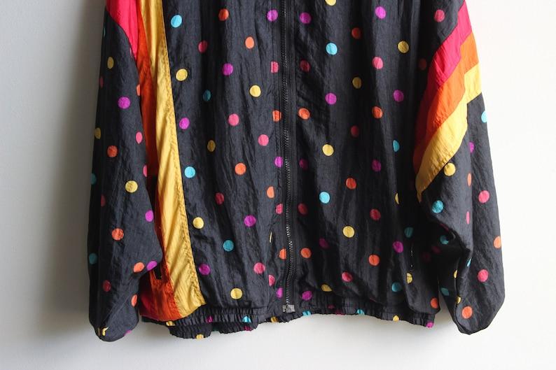 striped jacket warmup jacket rainbow polka dot jacket AVIAT SPORTIF JACKET \\\\ vintage nylon jacket women/'s large stained lining