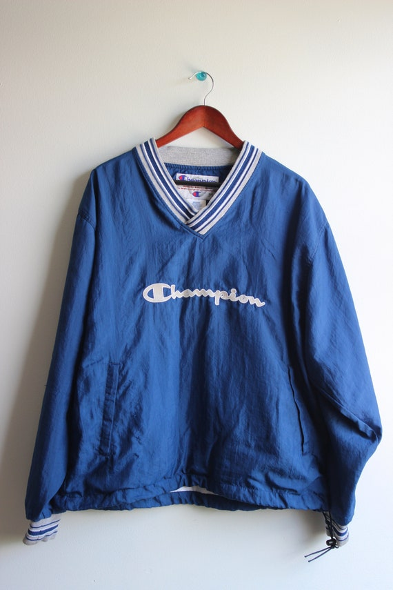 Blue Champion Windbreaker // Vintage Champion Windbreaker || Champion Spell Out Text || Men's Size Medium || Accented V Neck Collar by Etsy