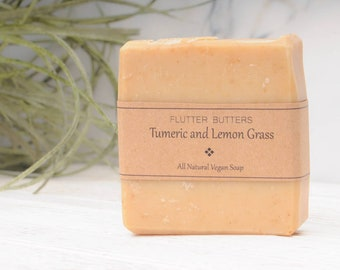 Tumeric and Lemon Grass Soap; Healing Soap; Fresh and Clean Soap; Flutter Butters