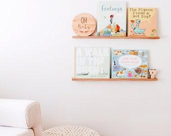 Minimalist Book Display Ledge (Oak) - Kids Bookshelf, Book Ledge, Picture Ledge, Bookshelves, kids shelf, Floating ledge, Book Display