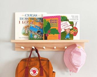 Peg Rail With Shelf (White-Tips, Pine Wood) - Kids nursery shelf, Peg rail, Peg rail with shelf, Wooden peg rack, Wooden peg rail
