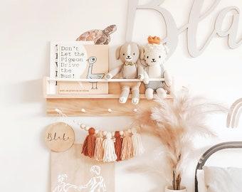Kids bookshelf and coat rack combo - round peg across, pine wood