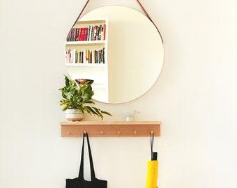 Peg rail with shelf (oak) - wall coat rack shelf, Peg shelf, Wooden peg rack, Wooden peg rail, Towel rack, Hat rack, Entryway shelf, Gift