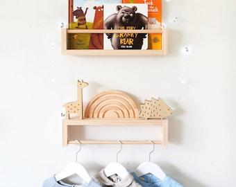 Kids bookshelf and clothes rack set - Children's clothing rack and bookshelf, baby timber clothes hanger, kids bookshelves, nursery decor