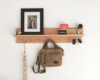 Coat rack with shelf 80cm USA -  Wall mount coat rack, Entryway organiser, Tasmanian Oak shelf, Coat hanger, Coat rack storage, Mail holder