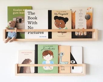 Kids Wall bookshelf (with flat peg, pine wood) - Nursery Bookshelves, Floating Bookshelf, book shelf, nursery bookshelf, Kids bookshelves