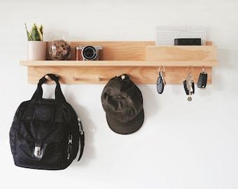 Entryway Organiser All-In-One 80cm (Pine Wood) - Hallway organizer, Entryway Wall Organizer, Coat rack with shelf, Wall mount coat rack
