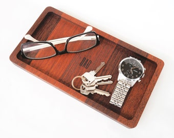 Personalised Fathers Day Gift - Catchall Tray: wooden valet tray, entryway organiser, catch all tray, Custom Valet Tray, 5 year wood gift