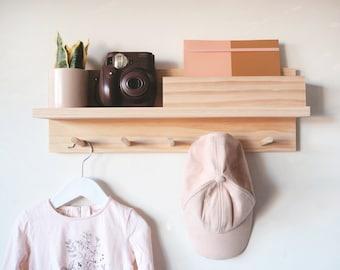 Coat Rack Entryway Organiser 55cm - Entryway Shelf, Hallway shelf, Floating shelf, Mail Holder, Peg Rail, Peg rack, Coat Rack, Housewarming