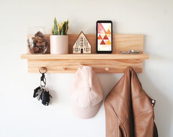 Featured listing image: Coat rack entryway organiser (Pine) -  Entryway organiser Entryway Hooks Peg Rack Peg Rail Wooden Shelf Wall Mount shelf Wall organiser