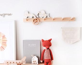 Kids Peg Rail (Pine Wood) - Wooden kids coat rack, Coat hanger, wall mount Peg rack, Kids room decor, Nursery decor, Baby shower gift