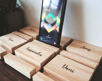 Personalised Phone stand - Father's Day Gift, Personalized iPhone stand, Coworker gift, Phone holder, Wooden phone stand,  Ipad stand, Mum