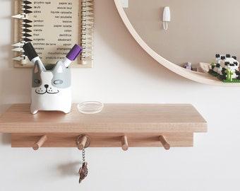 Hallway shelf (oak)- Wall mount coat rack, Shelf storage, Entryway shelf, Coat hanger, Coat hooks, Floating shelf, Hat rack, Entryway