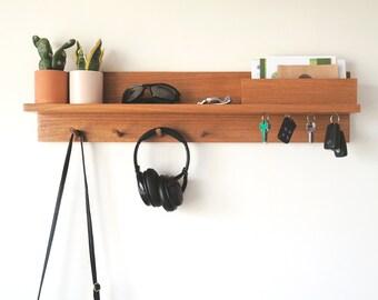 Entryway Organizer 80cm in Walnut Stain - Entryway shelf with hooks, entryway organiser, minimalist shelf, wall mounted coat rack, Decor