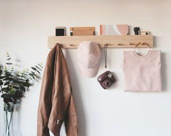 Coat rack with mail holder 80cm - Home Decor Wall coat rack Housewarming gift Mail holder entryway organiser Coat holder Coat hanger