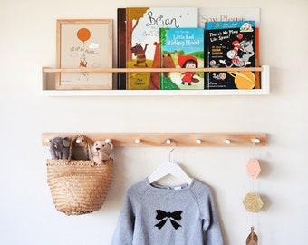 Kids bookshelf & Peg rail combo - Kids peg rail, Floating Bookshelf for kids, book shelf, nursery bookshelf, Kids coat rack, Wall bookshelf