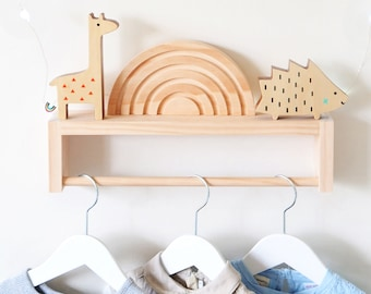 Clothes Rack for Kids (Pine Wood) - Clothing Rail, Wooden Children's clothing rack, baby timber clothes hanger, nursery decor