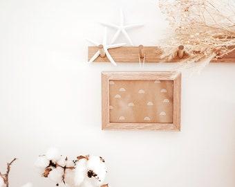 Slim Peg Rail (Oak) - Wall mount Coat rack, Wooden peg rack, Home Decor, Housewarming gift, Entryway organiser, Coat hanger, Hat rack, Rail