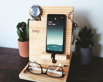Simple Phone docking station -  Birthday gift, Fathers Day Gift, Bedside stand, Valet stand,  Wood docking station, Night stand organiser