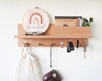 Entryway Organizer All-In-One 55cm (Oak) -  Entryway shelf, Birthday gift, Wall mount coat rack, housewarming gift, Coat rack mail holder