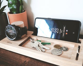 Personalised nightstand organizer 25cm- Fathers Day gift, Watch stand, phone stand, Desk organiser, ring holder, glasses holder, For Him