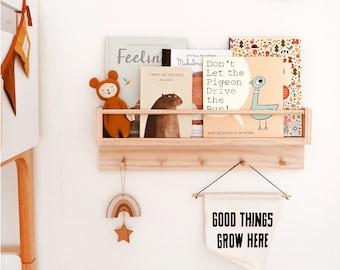 Kids bookshelf and coat rack combo (natural wood colour) -