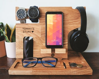 Personalised Valet Stand - Gift for Dad, Dock, Fathers Day Gift, Wooden docking station, Headphone holder, valet tray, Charging Station