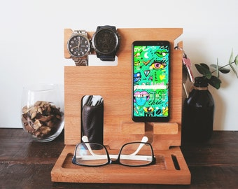 Wooden compact docking station - Personalised Gift, Fathers Day Gift, Anniversary Gift For Him, Desk organiser, Nightstand organizer, Dad