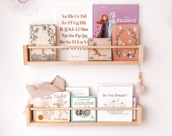 Nursery bookshelf (Pine Wood, round peg across) -  1 piece only, Kids Bookshelves, Book Ledge, Picture Ledge, Bookshelves, kids shelf