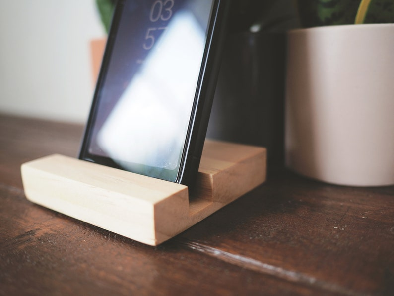 raw Pine wood Phone stand - Work from home phone stand Ipad stand Phone holder Wooden phone stand Tablet stand Phone dock