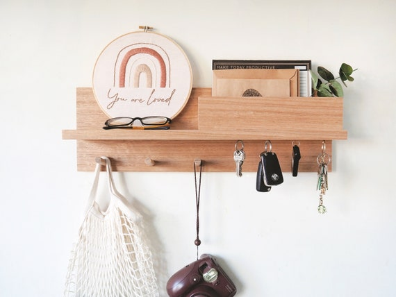 5 Hooks Entryway Wood Coat Rack Organizer Wall Mount Shelf Key Cap Hanger