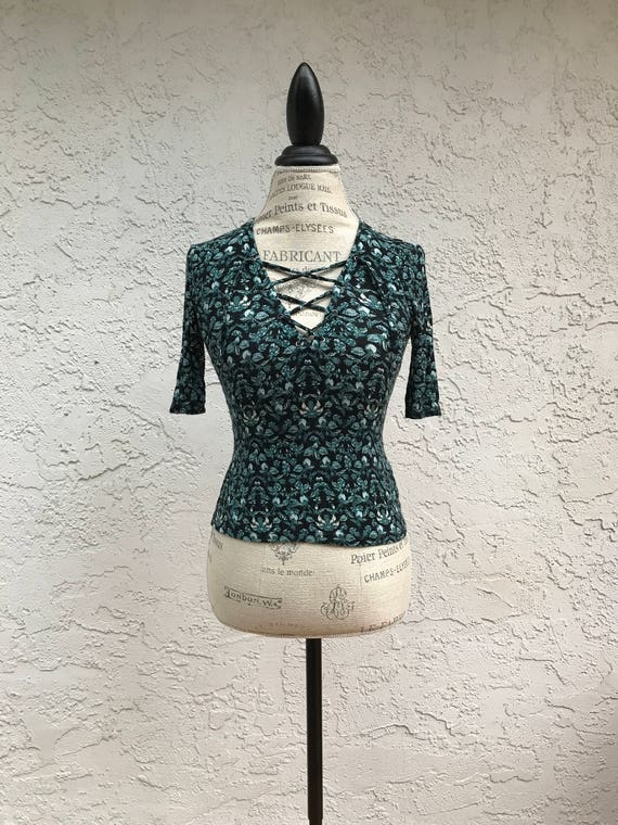 Dark Edgy Floral Turquoise Top