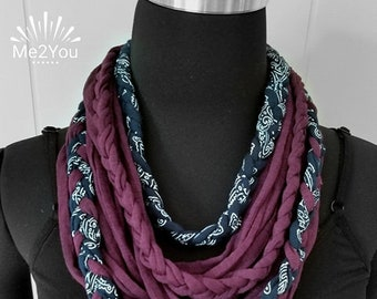 Handmade Scarf, T-Shirt Scarf, Infinity Scarf, Loop Scarf, Fabric Scarf, Cotton Fabric Scarf, Woman's Scarf, Braided Scarf, T-Shirt Necklace