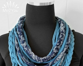 Handmade Scarf, T-Shirt Scarf, Infinity Scarf, Loop Scarf, Fabric Scarf, Cotton Scarf, Woman's Scarf, T-Shirt Necklace, Braided Scarf