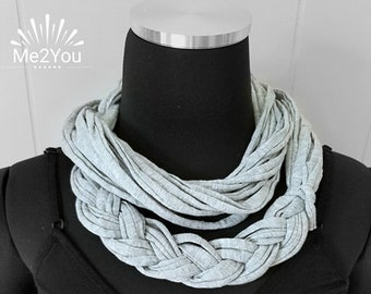 Handmade Scarf, T-Shirt Scarf, Infinity Scarf, Loop Scarf, Fabric Scarf, Cotton Fabric Scarf, Woman's Scarf, T-Shirt Necklace, Braided Scarf