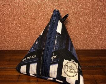 Pyramid Pouch - Triangle Pouch - Zipper Pouch - Coin Purse - Police Box