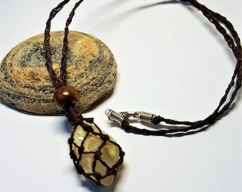 Green Fluorite Tumbled Stone Handmade Basket Weave Hemp Necklace