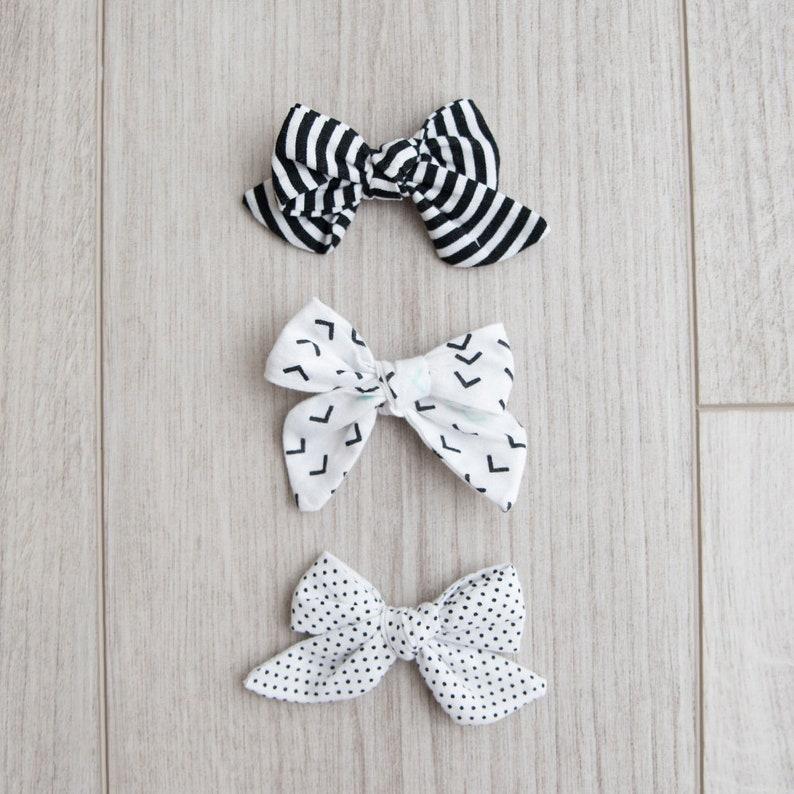 4f4f976e92e5 Black and White Fabric Bows girl bows headband B W bow